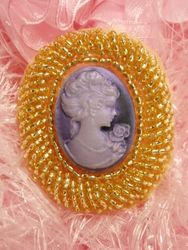 0383  Gold Purple Victorian Cameo Beaded Applique 2""