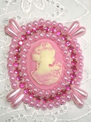 0388 Pink Victorian Cameo Pink Rhinestone Beaded Applique 2.75""