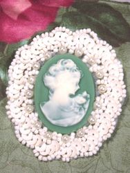 0389  Ivory  Green Victorian Cameo Sequin Beaded Applique 2.5""