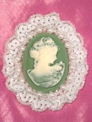 0389 White Green Victorian Cameo Sequin Beaded Applique 2.5""