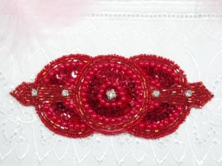 "0391  Red Rhinestone Triple Circle  Beaded Sequin Applique  5.5"""