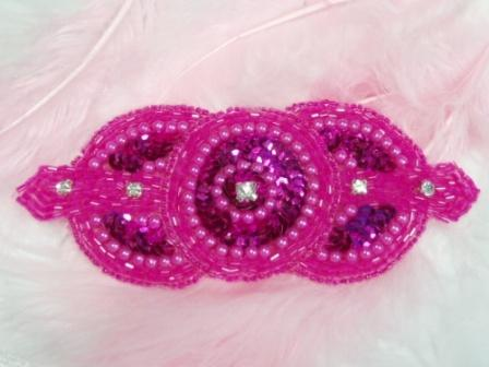0391 Fuchsia Rhinestone Triple Circle Sequin Beaded Applique  5.5""