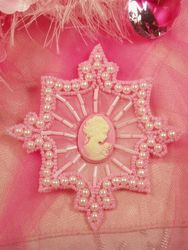 0394  Pink Pearl Cameo Beaded Applique 4""
