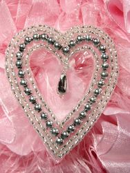 0403 Silver  Heart Designer Beaded Applique 2.5""