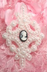 0404  White Cameo Pearl Beaded Applique 4""