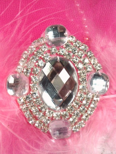 0463 Clear Rhinestone Beaded  Applique 2.5&quot;