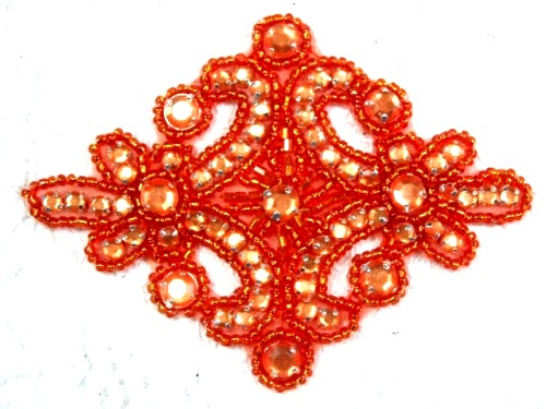 0470 Orange Rhinestone Beaded Hair Bow / Brooch / Applique 4""