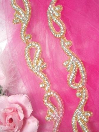 0473  Gold Beaded Clear Genuine Rhinestone Trim  1.75""