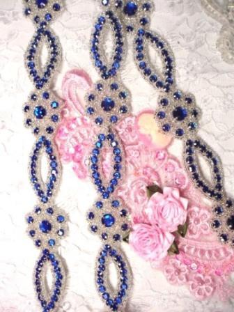 "0474  Blue & Silver Rhinestone Jewel Floral Trim 1.25"""