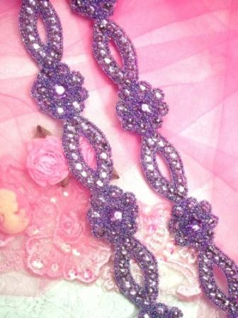 "0474  Lavender Flower Rhinestone Jewel Floral Trim 1.25"""
