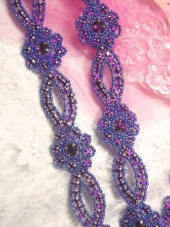 "0474  Purple AB Rhinestone Jewel Floral Trim 1.25"""