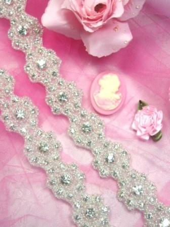 0478  Starlight Floral Genuine Rhinestone Beaded Flower Trim