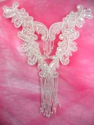 0510 Crystal Bodice Yoke Sequin Beaded Applique 10""