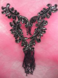 0510 Gunmetal Bodice Yoke Sequin Beaded Applique 10""