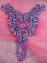 0510 Lavender AB Bodice Yoke Sequin Beaded Applique 10""