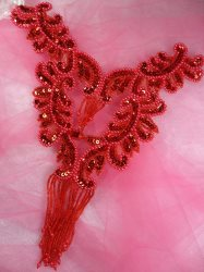0510 Red Bodice Yoke Sequin Beaded Applique 10""