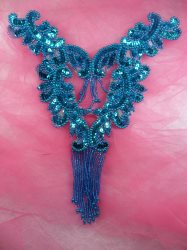 0510 Turquoise Bodice Yoke Sequin Beaded Applique 10""