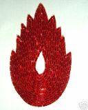 """K8899  Red Flame Beaded Applique  4.5"""""""