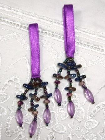 E5572 Set of 2 Purple Beaded Tassels 2""