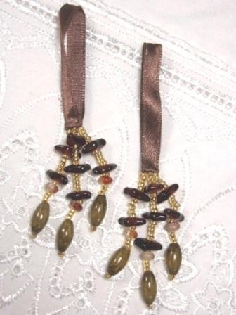 E5572 Set of 2 Brown Beaded Tassels 2""