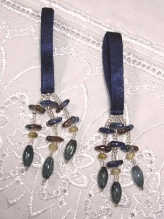 E5572 Set of 2 Blue Beaded Tassels 2""