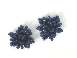 E1019 (Set of 2) Royal Blue Mini Beaded Flower Appliques 1.25&quot;