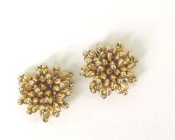 E1019 (Set of 2) Gold Mini Beaded Flower Appliques 1.25&quot;