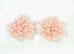E1019 (Set of 2) Mauve Mini Beaded Flower Appliques 1.25&quot;