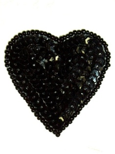 0363  Black Heart Beaded Sequin Applique 2""