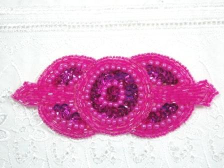 0369 Fuchsia Triple Circle Sequin Beaded Applique