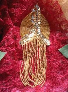 XR108 Gold Epaulet Beaded Sequin Applique