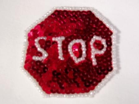 "Stop Sign 2"" Sequin Beaded Applique 0125"
