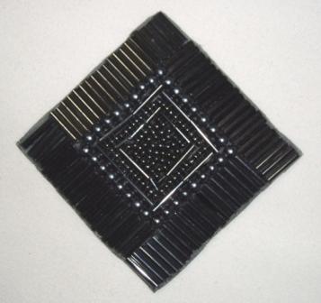 "K8629  Gunmetal Diamond Square 3.25"" Beaded Applique"