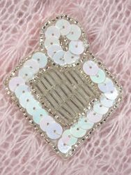 """K1194  White AB and Silver Diamond Sequin Beaded Applique  2.25"""""""