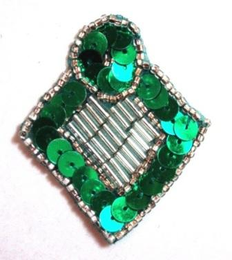 """K1194  Kelly Green and Silver Diamond Sequin Beaded Applique  2.25"""""""