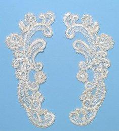 """E3257 Rosette Lace Appliques Ivory Mirror Pair 7.75"""""""