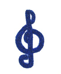 E1209 Royal Blue Beaded Treble Clef Applique 4.5&quot;