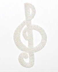E1209 Crystal AB Beaded Treble Clef Applique 4.5&quot;