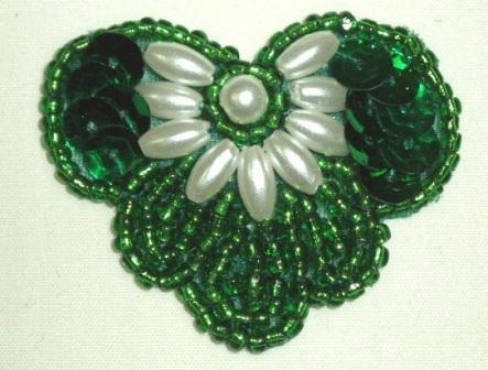 """K1231 Green Pearl 1.75"""" Sequin Beaded Applique  K1231"""