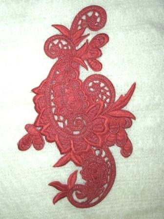 E645 Rust Red Wine Paisley Embroidered Iron On Applique 9.5""