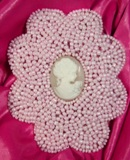 "0192 Pink 3.75"" Victorian Cameo Beaded Appliques"