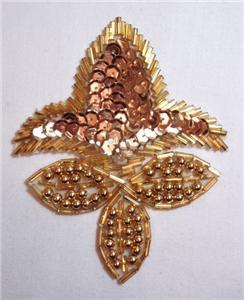 K1445 Gold Fleur De Leis Sequin Beaded Applique