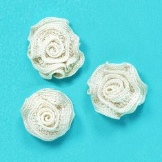 E5500 Flower Appliques Ivory Set of ( 3 ) Ruffled Floral Rose  3/4""
