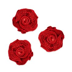 E5500  Flower Appliques Red Set of ( 3 ) Ruffled Floral Rose  3/4&quot;