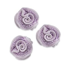E5500  Flower Appliques Lavender Set of ( 3 ) Ruffled Floral Rose  3/4&quot;
