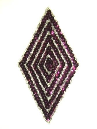 "k8385 Purple Wine Diamond Sequin Beaded Applique 5.5"""