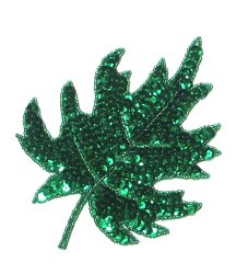 E182 Green Maple Leaf Sequin Applique 5.5&quot;