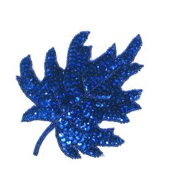 E182 Royal Blue Maple Leaf Sequin Applique 5.5&quot;