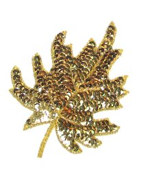 E182 Gold Maple Leaf Sequin Applique 5.5&quot;