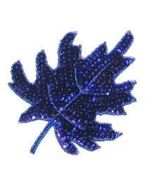 E182 Purple Maple Leaf Sequin Applique 5.5&quot;